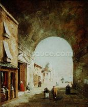 View of a Venetian street (oil on canvas) wall mural thumbnail