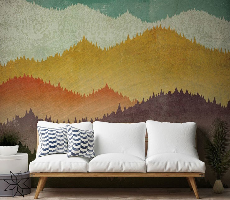 colourful mountain wallpaper in living room