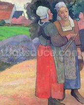 Breton Peasants, 1894 (oil on canvas) wallpaper mural thumbnail
