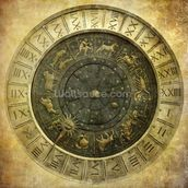 Vintage image of Venetian clock mural wallpaper thumbnail