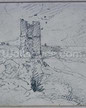 Cottages on a High Bank, 1834 (pencil on paper) wall mural thumbnail