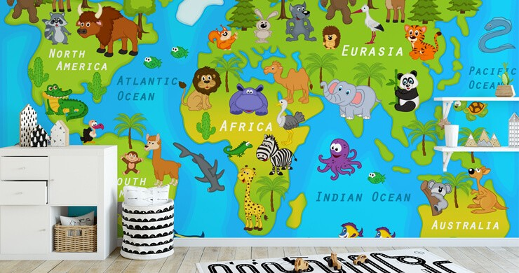 colourful childrens map in childs bedroom