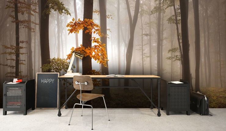 autumn wallpaper in trendy office
