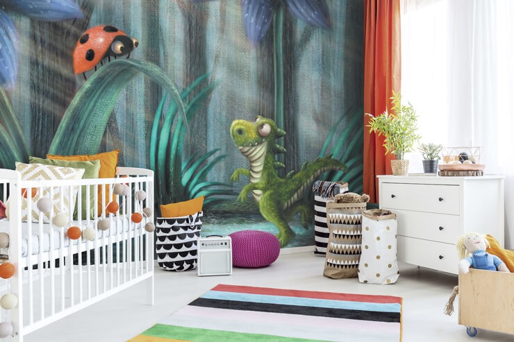 illustration of baby dinosaur and ladybird in tall grass wall mural in modern nursery