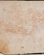 Study for the Massacre of the Innocents (brown ink on paper) (recto) (for verso see 191770) wallpaper mural thumbnail