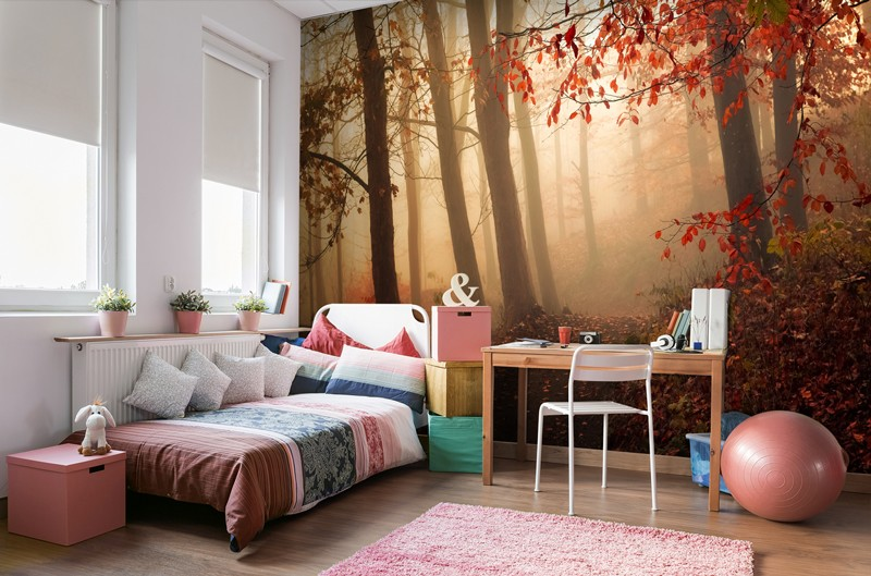 Tree mural in girls bedroom