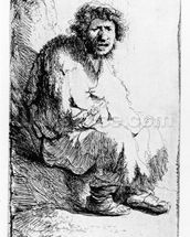 Beggar seated on a bank, 1630 (etching) wallpaper mural thumbnail