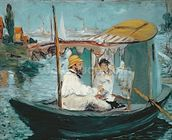 Monet in his Floating Studio, 1874 (oil on canvas) mural wallpaper thumbnail