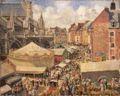 The Fair in Dieppe, Sunny Morning, 1901 (oil on canvas) wall mural thumbnail