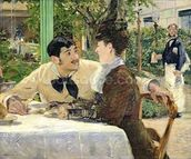 The Garden of Pere Lathuille, 1879 (oil on canvas) mural wallpaper thumbnail
