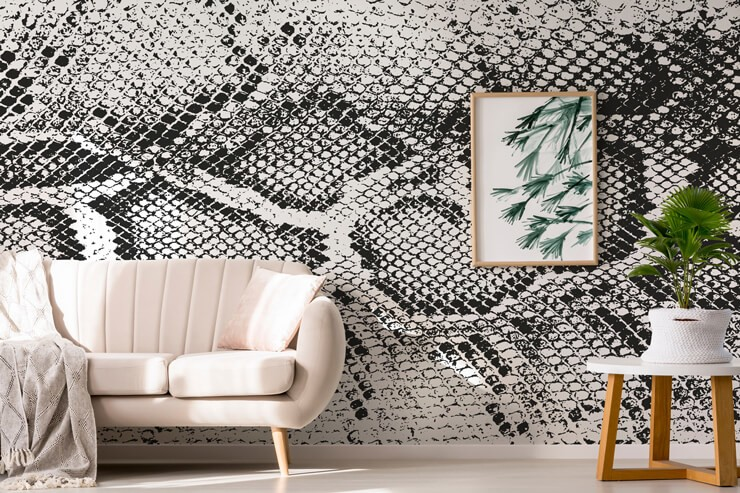 monochrome snake skin effect wall mural in pink lounge