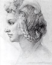 Ideal Head of a Woman, c.1525-28 (black chalk on paper) (b/w photo) wall mural thumbnail