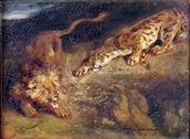 Tiger and Lion (oil on canvas) mural wallpaper thumbnail