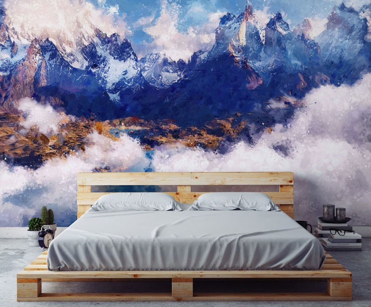painted snow capped mountains in modern bedroom