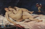Le Sommeil, 1866 (oil on canvas) wall mural thumbnail