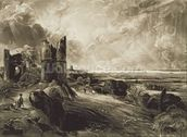 Hadleigh Castle, engraved by David Lucas (1802-81) c.1832 (mezzotint with etching) mural wallpaper thumbnail