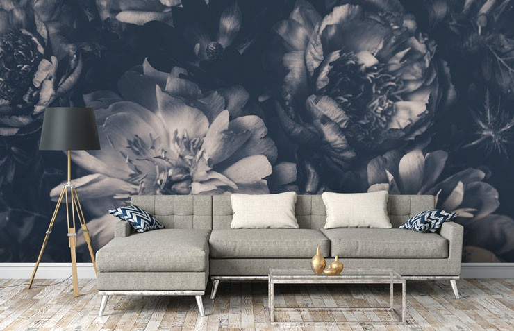 black and white floral wallpaper in trendy grey lounge