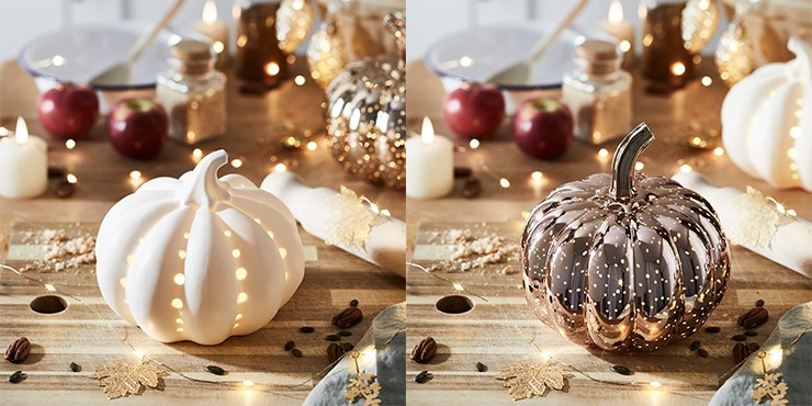 white ceramic and glass pumpkin ornaments