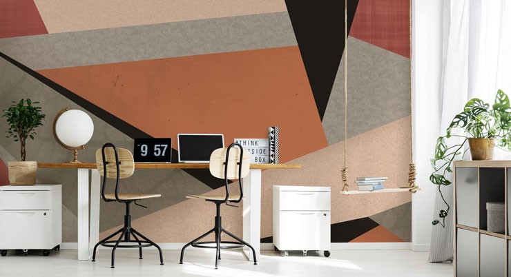 abstract terracotta, black and grey wallpaper in modern office