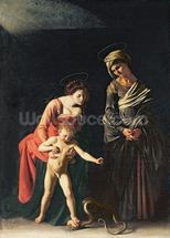 Madonna and Child with a Serpent, 1605 (oil on canvas) mural wallpaper thumbnail
