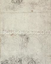 Study for The Last Judgment (pen & pencil on paper) (verso) wall mural thumbnail