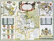 Huntington, engraved by Jodocus Hondius (1563-1612) from John Speeds Theatre of the Empire of Great Britain, pub. by John Sudbury and George Humble, 1611-12 (hand coloured copper engraving) wallpaper mural thumbnail