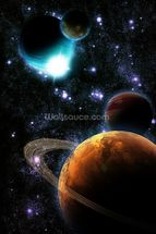 Abstract planet with sun flare in deep space - star nebula mural wallpaper thumbnail