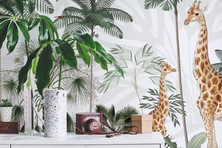 giraffe wallpaper shelves with green plant and camera
