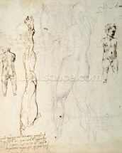 Study of the Christ Child and an Anatomical Drawing with Notes (black chalk & brown ink on paper) (verso) mural wallpaper thumbnail