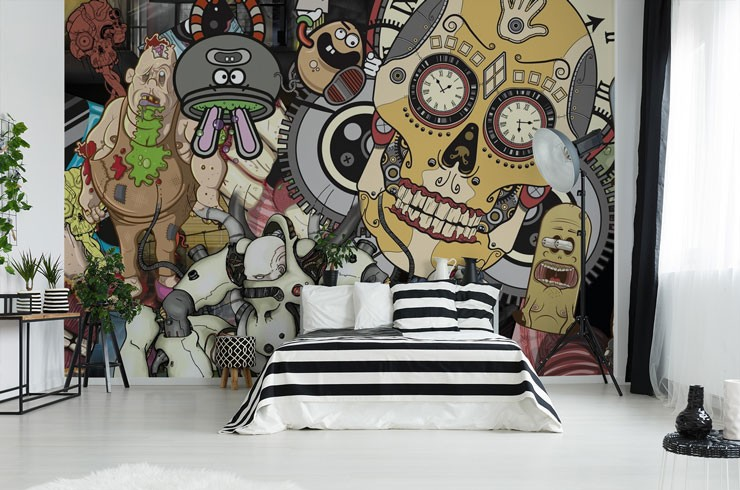 grunge cartoon style wallpaper in cool bedroom