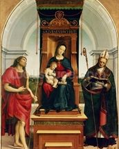 The Madonna and Child with St. John the Baptist and St. Nicholas of Bari, 1505 (oil on panel) wallpaper mural thumbnail