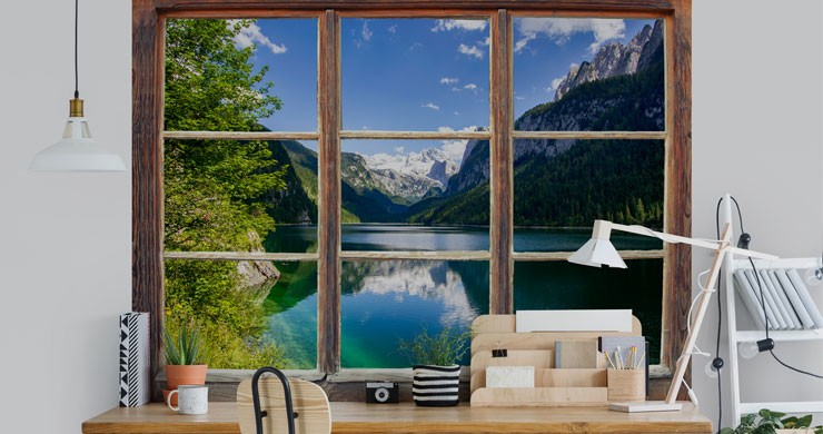 lake window view in trendy office