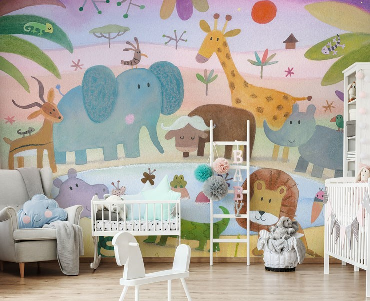 painted african animal cartoons in cosy nursery