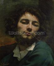 Self Portrait or, The Man with a Pipe, c.1846 (oil on canvas) wall mural thumbnail