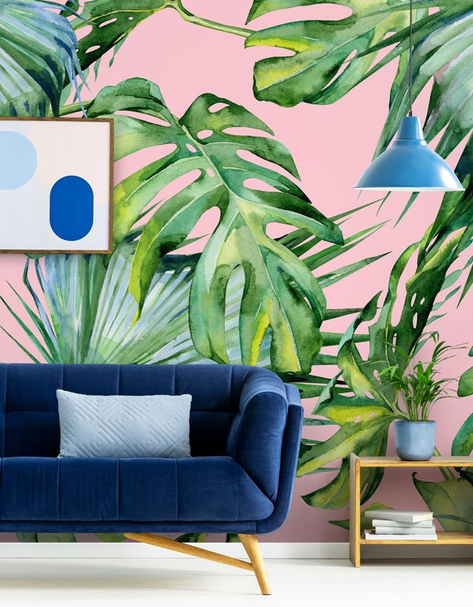 pink jungle pattern wallpaper in living room