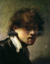 Head of a Young Man or Self Portrait, 1629 (oil on panel) wall mural thumbnail