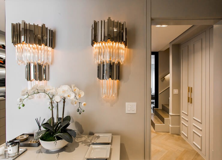 monochrome and glass empire state building shaped wall sconces