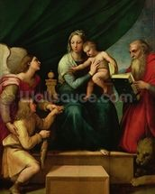 The Madonna of the Fish (The Madonna with the Archangel Gabriel and St. Jerome) c.1513 (oil on canvas) wall mural thumbnail