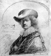 Self Portrait, c.1633 (etching) mural wallpaper thumbnail
