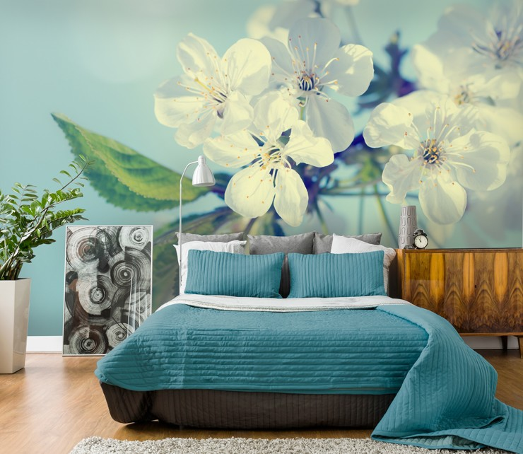 blue cherry blossom mural in bedroom
