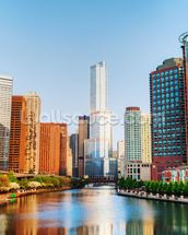 Chicago Downtown Waterway mural wallpaper thumbnail