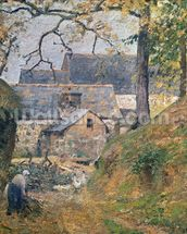 A Farm at Montfoucault, 1894 (oil on canvas) mural wallpaper thumbnail