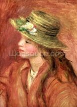 Young Girl in a Straw Hat, c.1908 (oil on canvas) wall mural thumbnail
