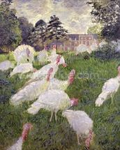 The Turkeys at the Chateau de Rottembourg, Montgeron, 1877 (oil on canvas wall mural thumbnail