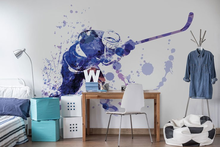 blue and white watercolour painting of hockey player in teen bedroom