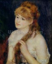 Young Woman Braiding her Hair, 1876 (oil on canvas) wallpaper mural thumbnail