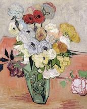 Japanese Vase with Roses and Anemones, 1890 (oil on canvas) mural wallpaper thumbnail