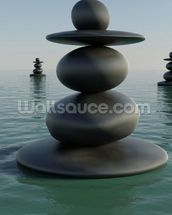 Zen Pebble Stacks wallpaper mural thumbnail