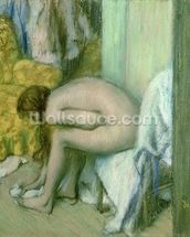 After the Bath, Woman Drying her Left Foot, 1886 (pastel on cardboard) mural wallpaper thumbnail