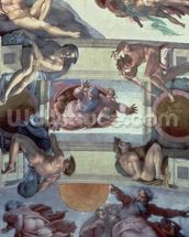 Sistine Chapel Ceiling (1508-12): The Separation of the Waters from the Earth, 1511-12 (fresco) (post restoration) wall mural thumbnail